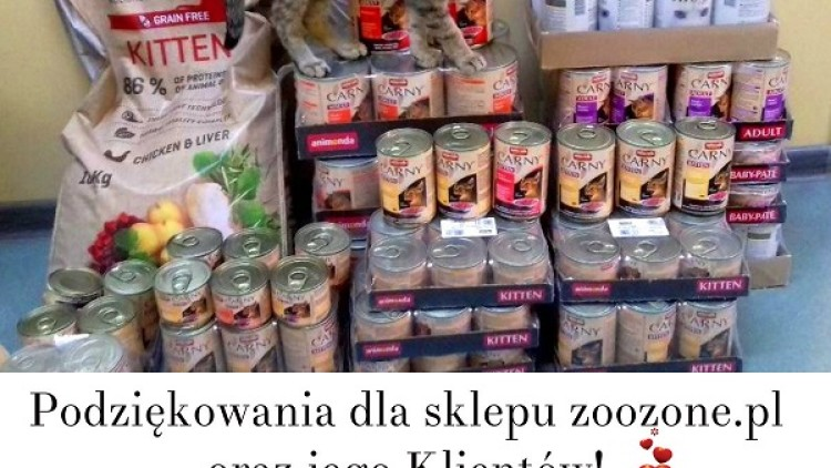 Podziękowania dla sklepu zoologicznego ZooZone.pl