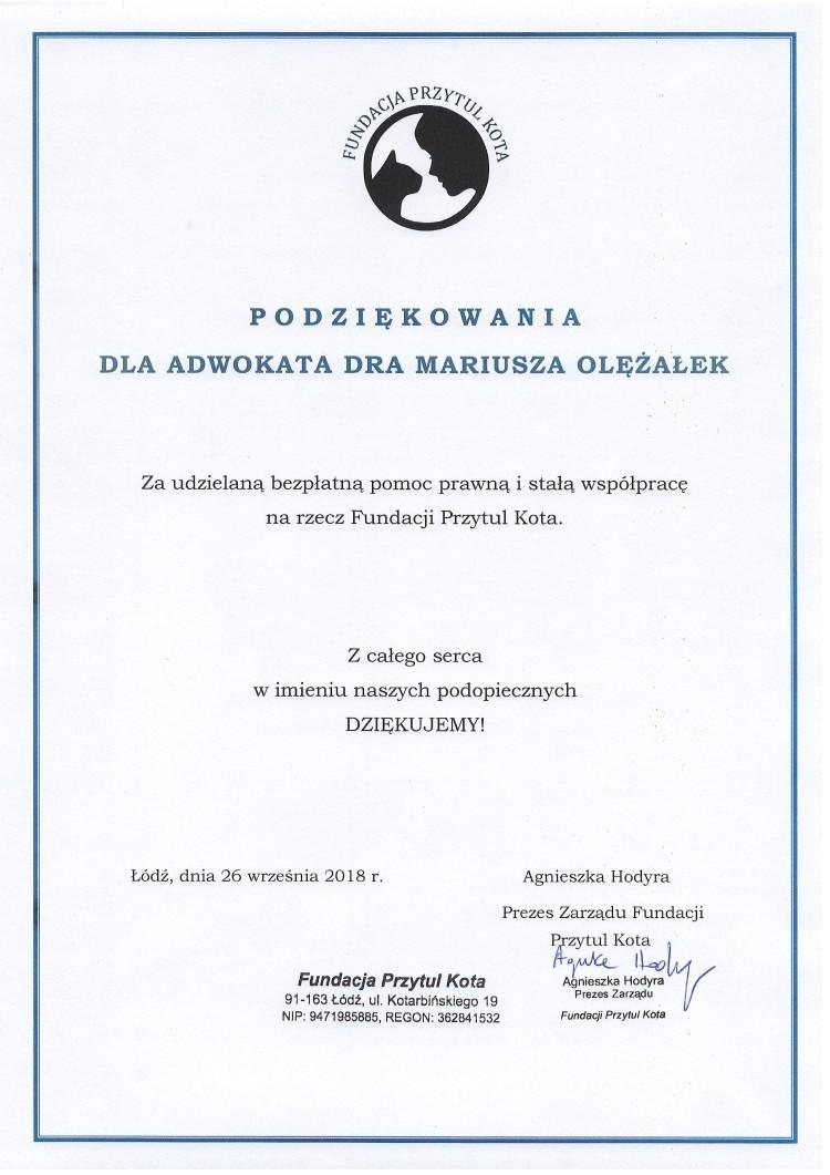Podziękowania adw. dr Mariusz Olężałek